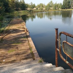 Pier in the territory of the port on the Pripyat River